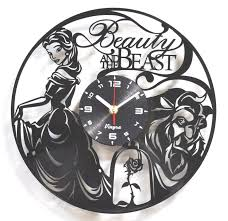 beauty and beast vinyl wall clock recycled lp record