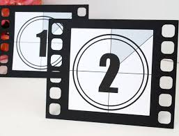 themed table numbers table numbers for oscars party set of