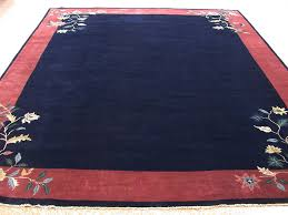 9 x 12 antique chinese peking style hand knotted wool blue rust