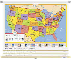 political us map u s intermediate physical political 3 wall map combo