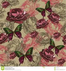 Roses And Butterflies - seamless background with vintage roses and butterflies dra