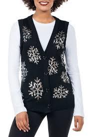 hanukkah vest women s black snowflake christmas sweater vest tipsy elves