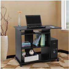 bureau informatique noir bureau informatique sur roulettes avec etagère noir neuf top prix