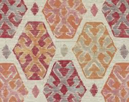 Geometric Drapery Fabric Aqua Blue Brown Ikat Upholstery Fabric Custom Blue Gold Ikat