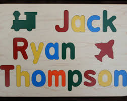 personalized names name puzzle raised letters custom personalized wooden