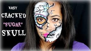 Sugar Skull Halloween Makeup Tutorial by Easy Cracked Sugar Skull Tutorial Halloween Makeup Youtube