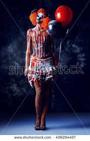 clown balloon l evil clown stained blood holding stock photo 489973822