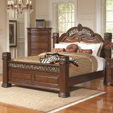bedroom brown lacquer mahogany wood bed frame with carved