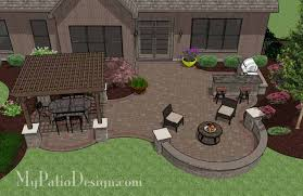 Outdoor Patio Design Large Curvy Patio Design With Grill Station Bar Also Includes