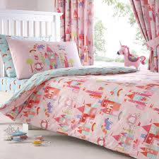 girls castle bed bluezoo kids u0027 pink u0027castle and unicorns u0027 duvet cover and matching