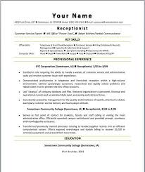 Objective For Receptionist Resume Receptionist Resumes Samples Unforgettable Receptionist Resume