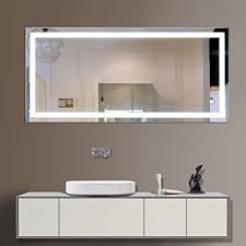 Lighted Mirrors For Bathrooms Decoraport 60 Inch 28 Inch Horizontal Led Wall Mounted