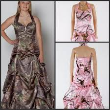 realtree camo a line bridal dress with long train trimmed in lace
