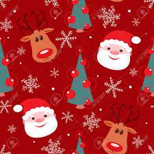 seamless pattern rudolph santa tree and snowflakes