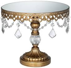 vintage cake stand antique gold mirror top 8 1 2x10 cake