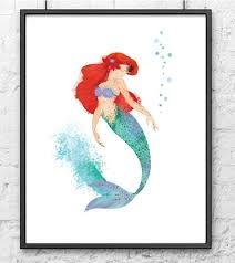 disney princess ariel mermaid digital watercolour poster