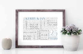 silver wedding anniversary word art word cloud printed