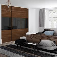 spacepro classic wideline sliding wardrobe door walnut black glass