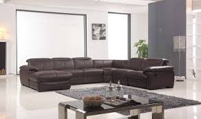 U Shaped Leather Sectional Sofa Living Room U Shaped Dark Brown Leather Sectional Sofa With Back