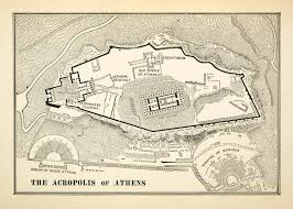 Map Of Athens Greece by 1900 Print Map Acropolis Athens Greece Architecture Layout Odeum