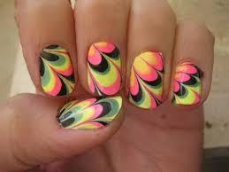 water marble nail art tutorial for short nails קישוטי ציפורניים לק