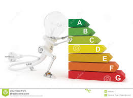 robot lamp push an energy efficiency rating stock photos image