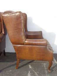 Leather Wing Back Chairs Chippendale Wingback Chair Foter