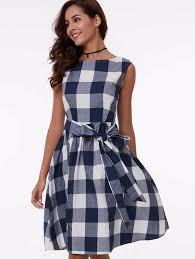 georgie blue gingham 50s dress 1950sglam