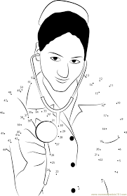 nurse with stethoscope dot to dot printable worksheet connect