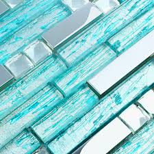 turquoise tile bathroom aqua glass silver metal tiles backsplash diamond stainless steel tile