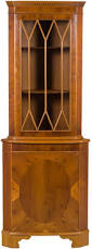 Corner China Cabinet Hutch English Antique Style Yew Corner Cabinet Wooden Shelves Shelves