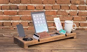 desk organizer wooden organizer phone holder office phone stand