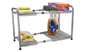 easy home expandable under sink shelf home basics 2 tier expandable under the sink organizer groupon