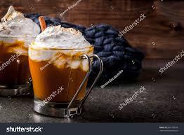 halloween coffee drinks traditional autumn dishes halloween thanksgiving stock photo