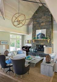 spacious vaulted ceiling ideas for white living room with crystal