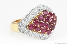ruby diamond ring 18k ruby ring yellow gold ruby ring cluster ruby diamond ring