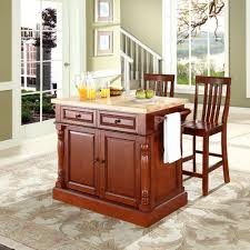 crosley furniture butcher block top kitchen island in cherry crosley furniture butcher block top kitchen island in cherry finish with 24 inch cherry school house stools
