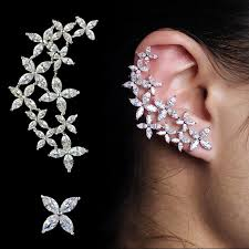 ear cuff jewelry cz floral ear cuff and stud look lust