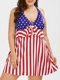 Model American Flag 2018 Halter American Flag Print Plus Size One Piece Patriotic Swim