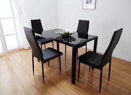 Designer Rectangle Black Glass Dining Table   Chairs Set - 4 chair dining table designs