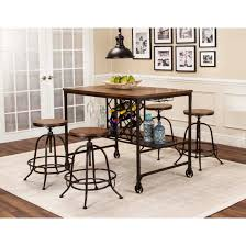 Piece Counter Height Storage Table And Swivel Stool Dining Set - Counter height dining table swivel chairs