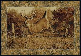 Rustic Cabin Lodge Area Rugs We U0027ll Meet Again Hautman Brothers Whitetail Deer Rug Collection