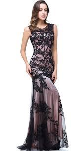 amazon com babyonline black lace mermaid evening dresses