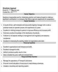 Logistics Responsibilities Resume 26 Executive Resumes In Pdf