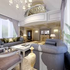 3d posh living room with balcony cgtrader