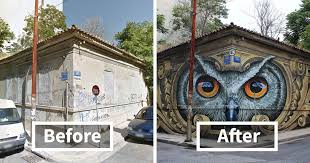 15 incredible before u0026 after street art transformations that are