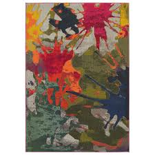 8 X 9 Area Rugs Jubilee Multi Colored Paint Splatter Area Rug 7 8 X 9 8