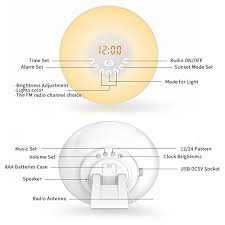 tecboss bedside l wake up light wake up light sunbayouth sunrise alarm clock radio with 7 color