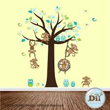 Monkey Nursery Decals Blue Green And White Vinyl Wall Decal Monkey Nursery Decals