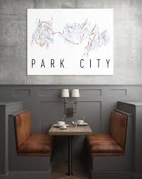 Park City Utah Trail Map by Park City Ut Ski Trail Map Poster Park City Ski Mountain Art